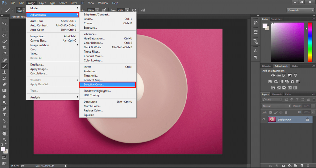 How to change background color in photoshop 23